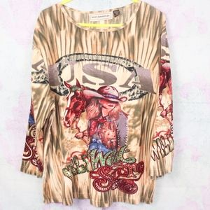 Wild West Story Embellished Cowgirl Western Tee